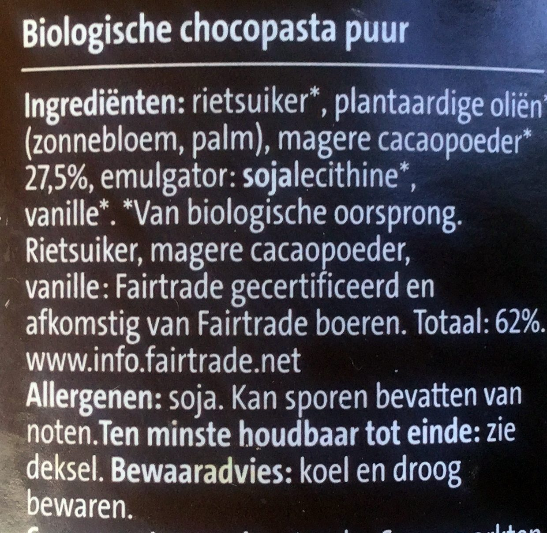Biologische choco-pasta puur - Ingredients - nl