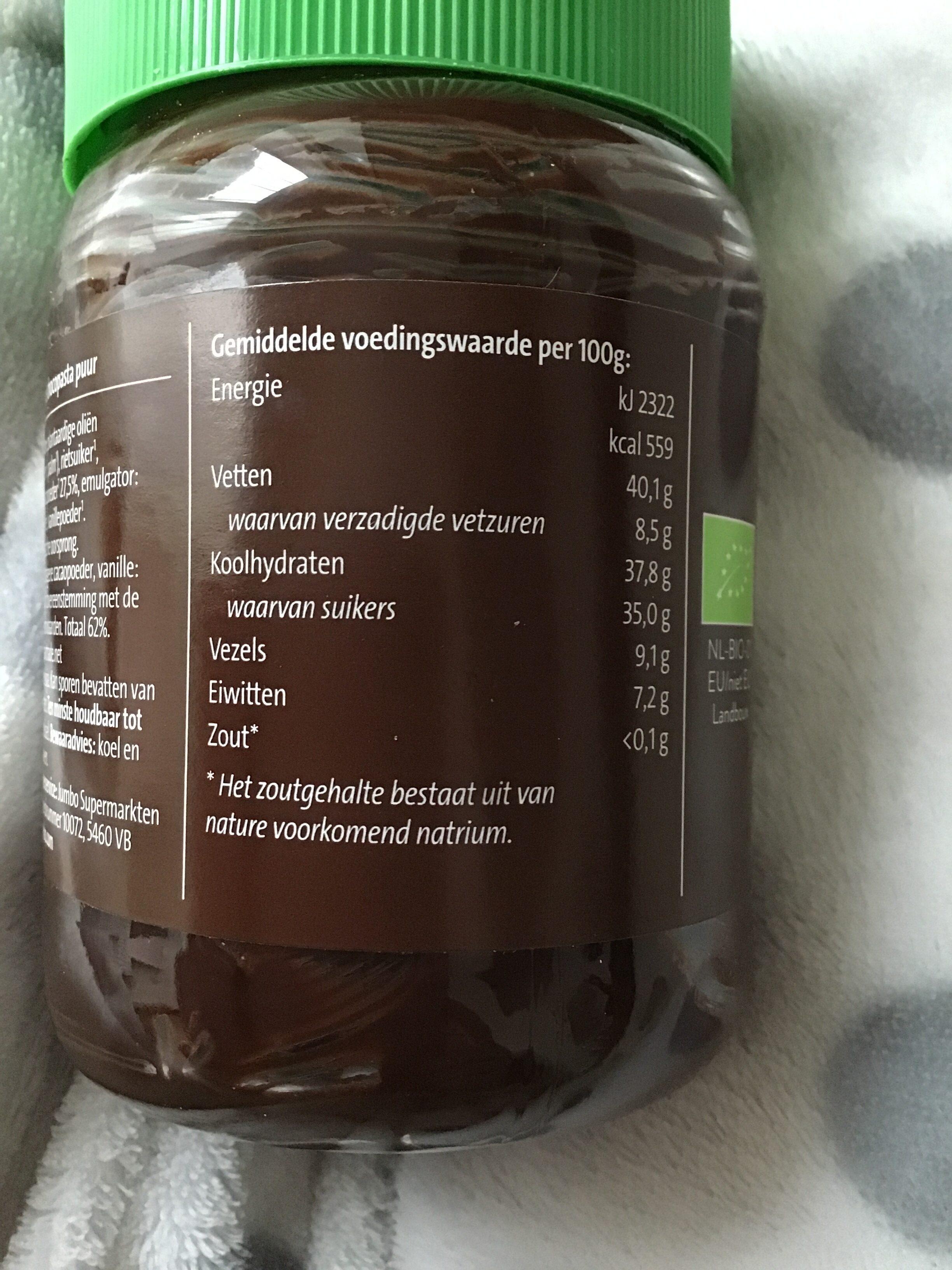 Biologische choco-pasta puur - Nutrition facts - nl