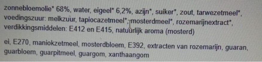 Jumbo Biologische Mayonaise - Ingrediënten - nl