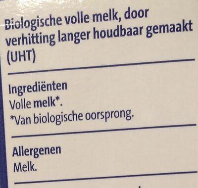 Biologische volle melk lang hoodbaar - Ingredients