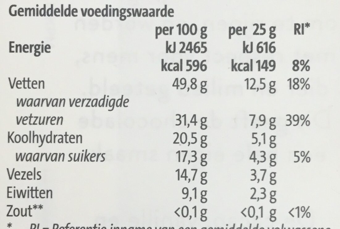 85% extra puur - Informations nutritionnelles - nl