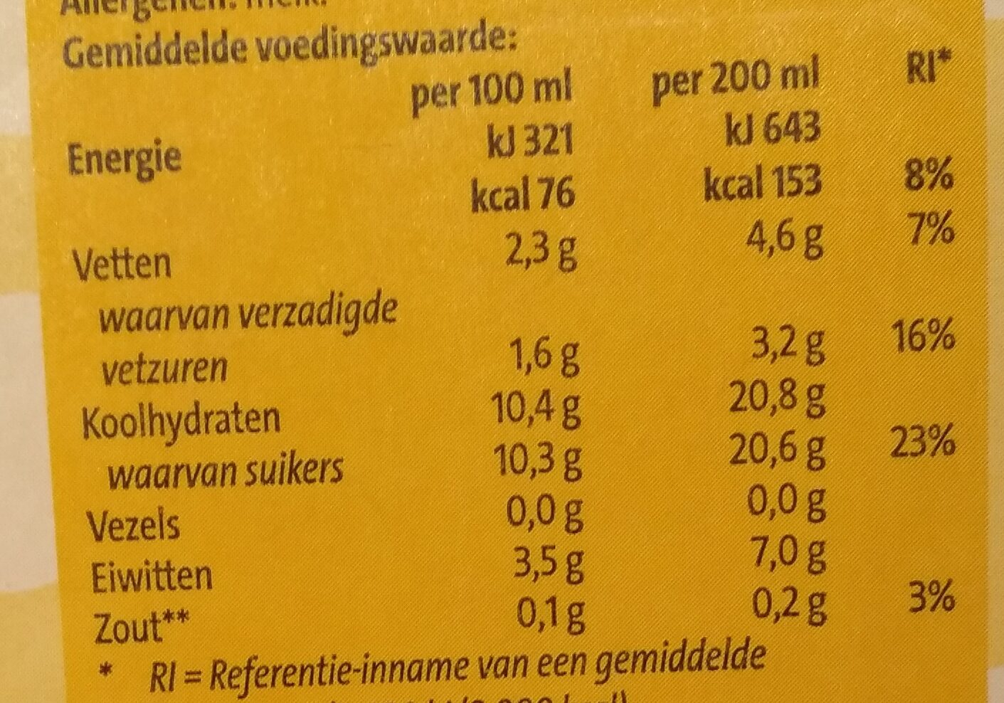 Chocolade Melk Wit - Nutrition facts - nl