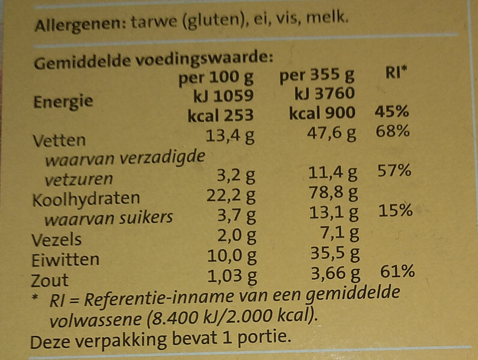 Pizza Bueno - Nutrition facts - nl