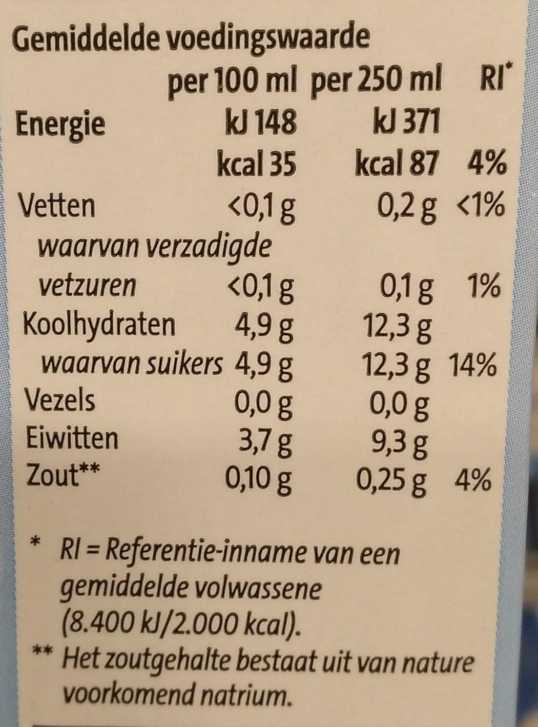 Biologische magere melk lang hoodbaar - Voedingswaarden
