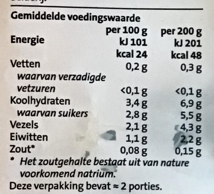 Boeren soepgroente - Voedingswaarden - nl