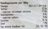 Wapenaer belegen - Nutrition facts - nl