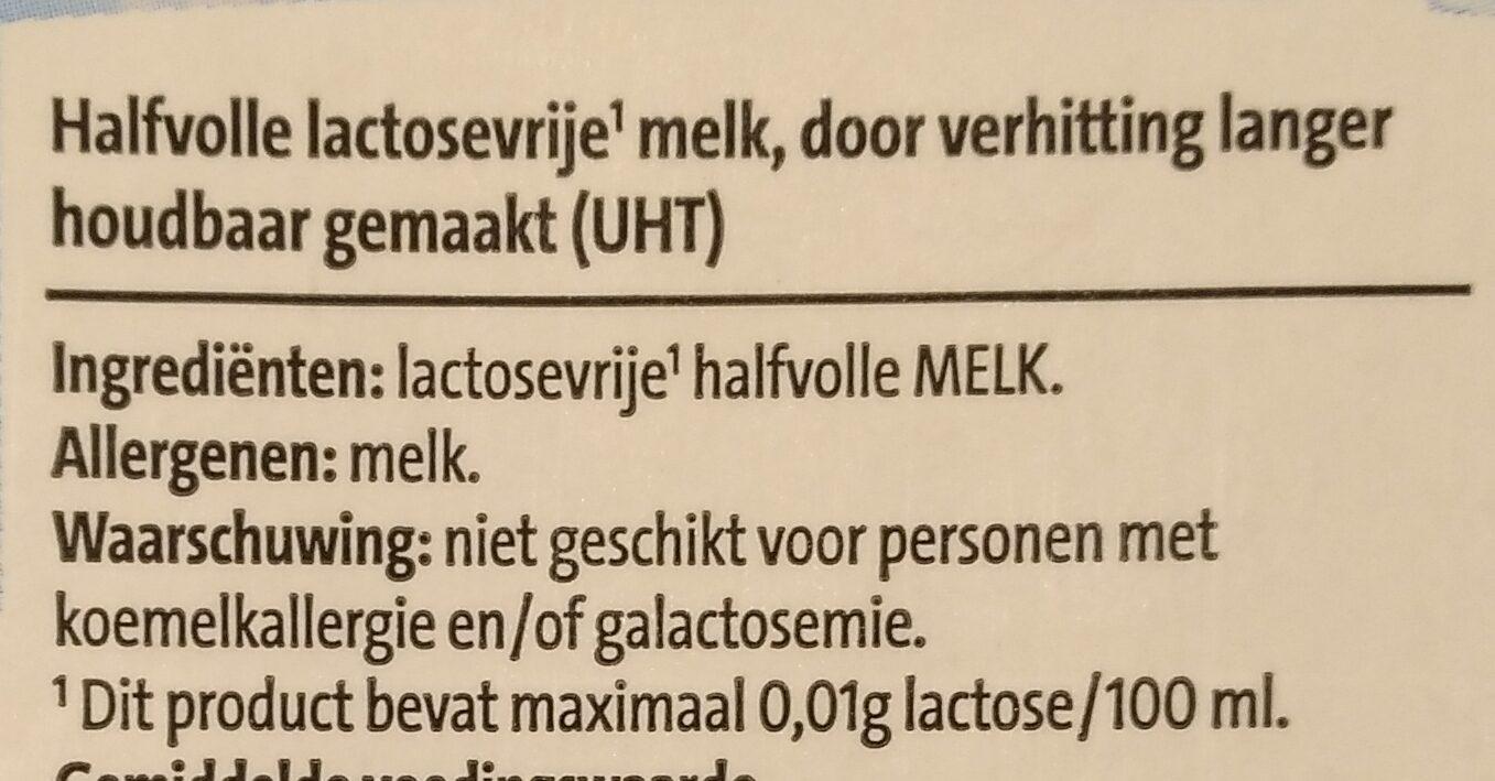 Houdbare lactosevrije half volle melk - Ingrediënten - nl