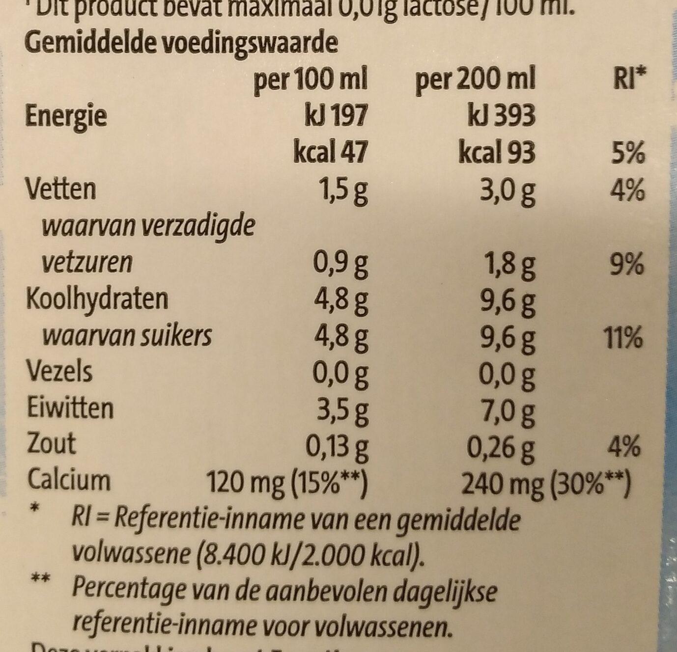 Houdbare lactosevrije half volle melk - Voedingswaarden - nl