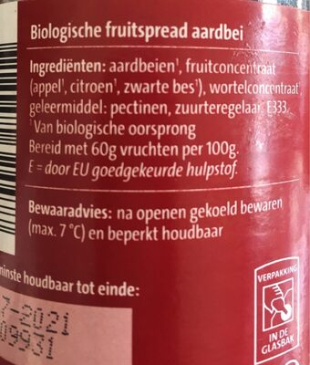 Bio Logisch fruitbeleg - Voedingswaarden - nl