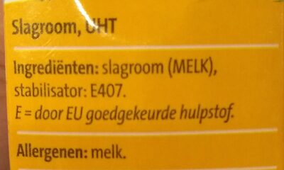 Slagroom houdbaar - Ingredients - nl
