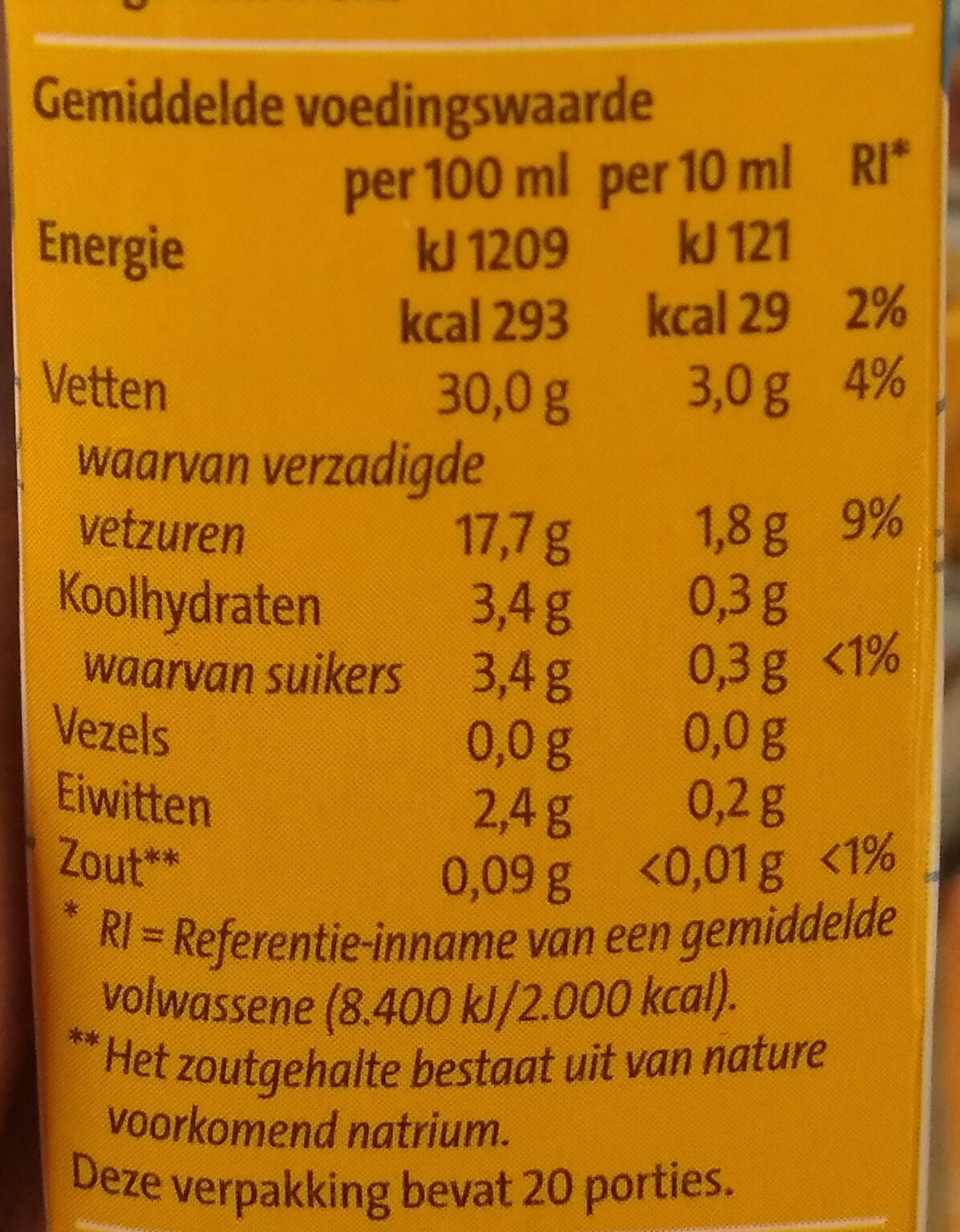 Slagroom houdbaar - Nutrition facts - nl