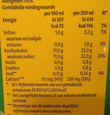 Halvol chocolade melk hazelnoot smaak - Nutrition facts - nl