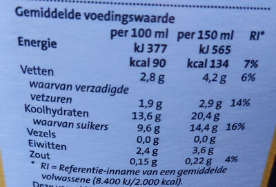 Vanille vla - Nutrition facts - nl