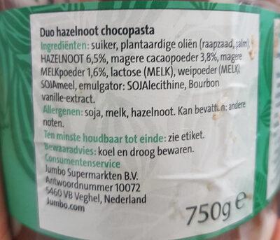 jumbo duo pasta hazelnoot & wit - Ingredients - nl