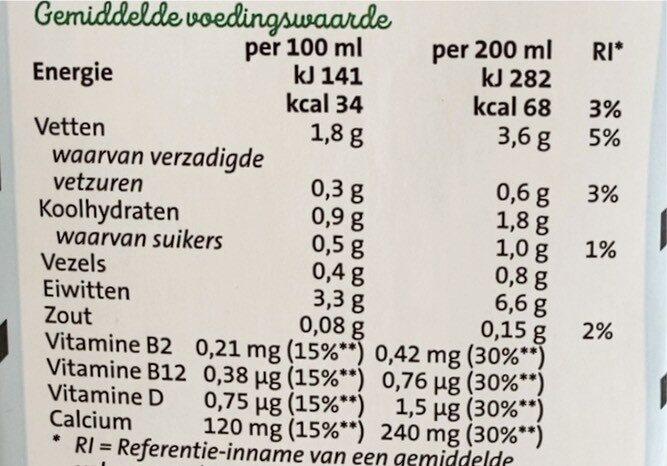 Soya ongezoet - Voedingswaarden - nl