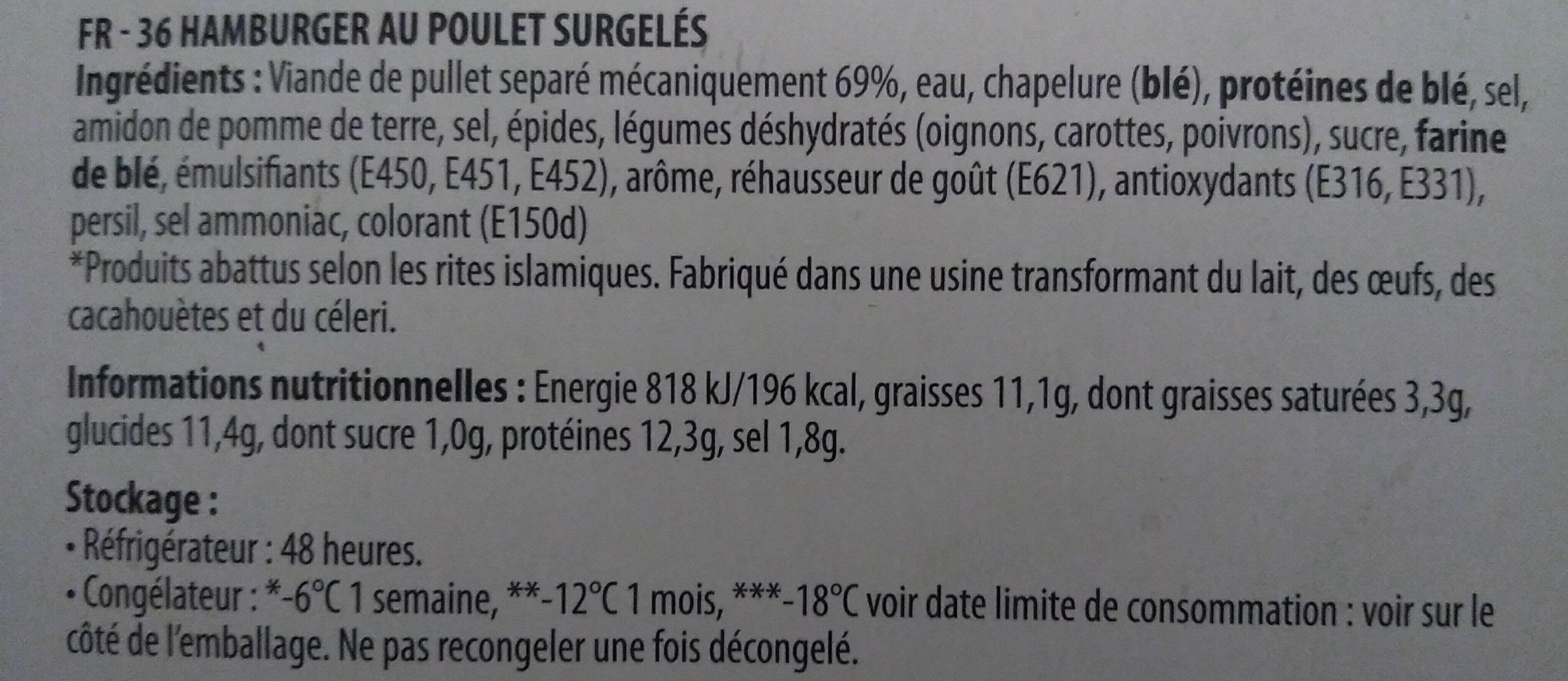 chicken burgers - Ingrédients - fr