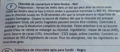 Galet Chocolat Noir à Fondre - Ingrédients - fr
