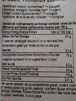 Wholegrain buckwheat fluor Bio - Nutrition facts - nl