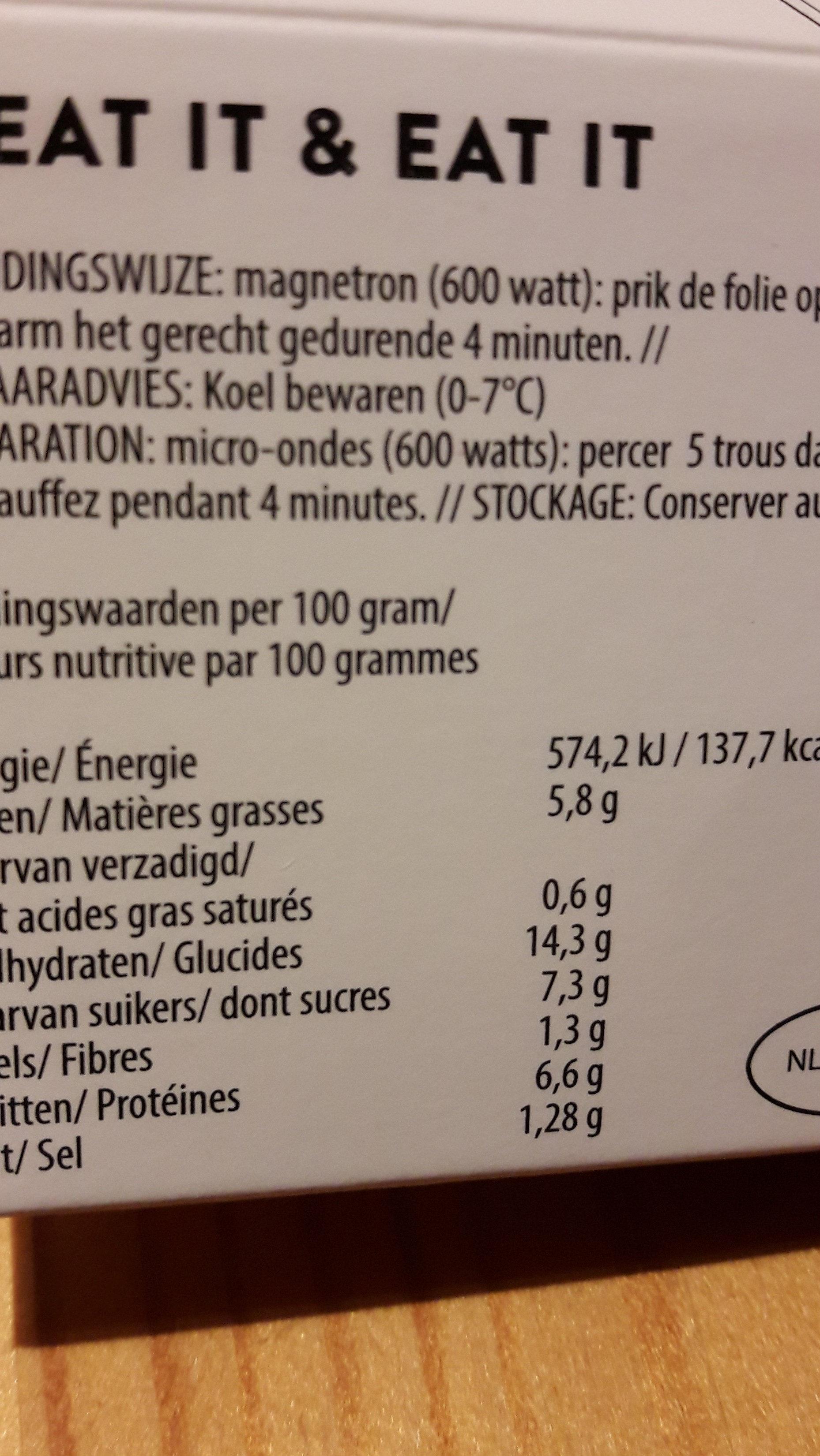 Tofu-Scampi-Nouilles-Chili doux - Voedingswaarden