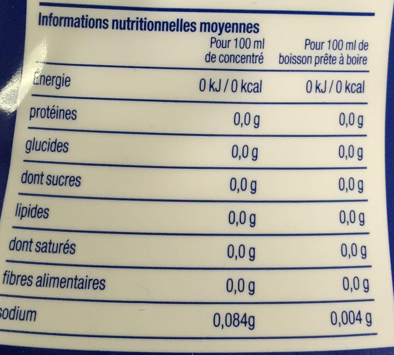 Soda Mix Concentré Cola sans sucres - Informations nutritionnelles - fr