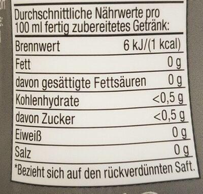Rote Beeren Sirup - Informations nutritionnelles - en