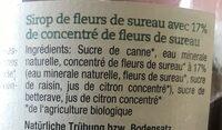 Bio-Sirup Holunderblüte - Ingrédients - fr