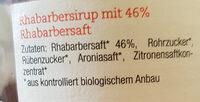 Bio-Sirup Rhabarber - Ingrédients - de
