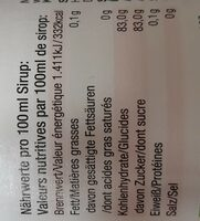 Bio-Sirup Rhabarber - Informations nutritionnelles - de