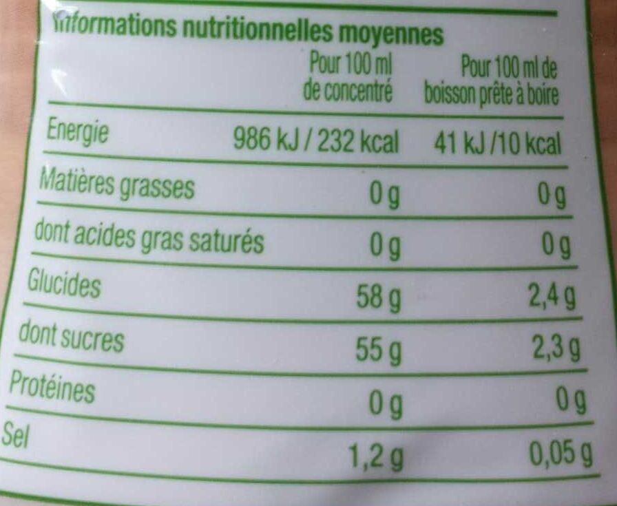 Concentré saveur thé citron - Informations nutritionnelles - fr