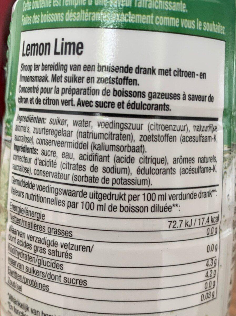 Sodastream Sabor Classics FS Lemon Lime - 440 ML - Informations nutritionnelles - fr