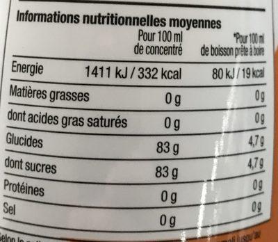 Water Mix saveur Mandarine Pêche - Informations nutritionnelles - fr