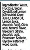 Sodastream Lemonade - Ingredients - en