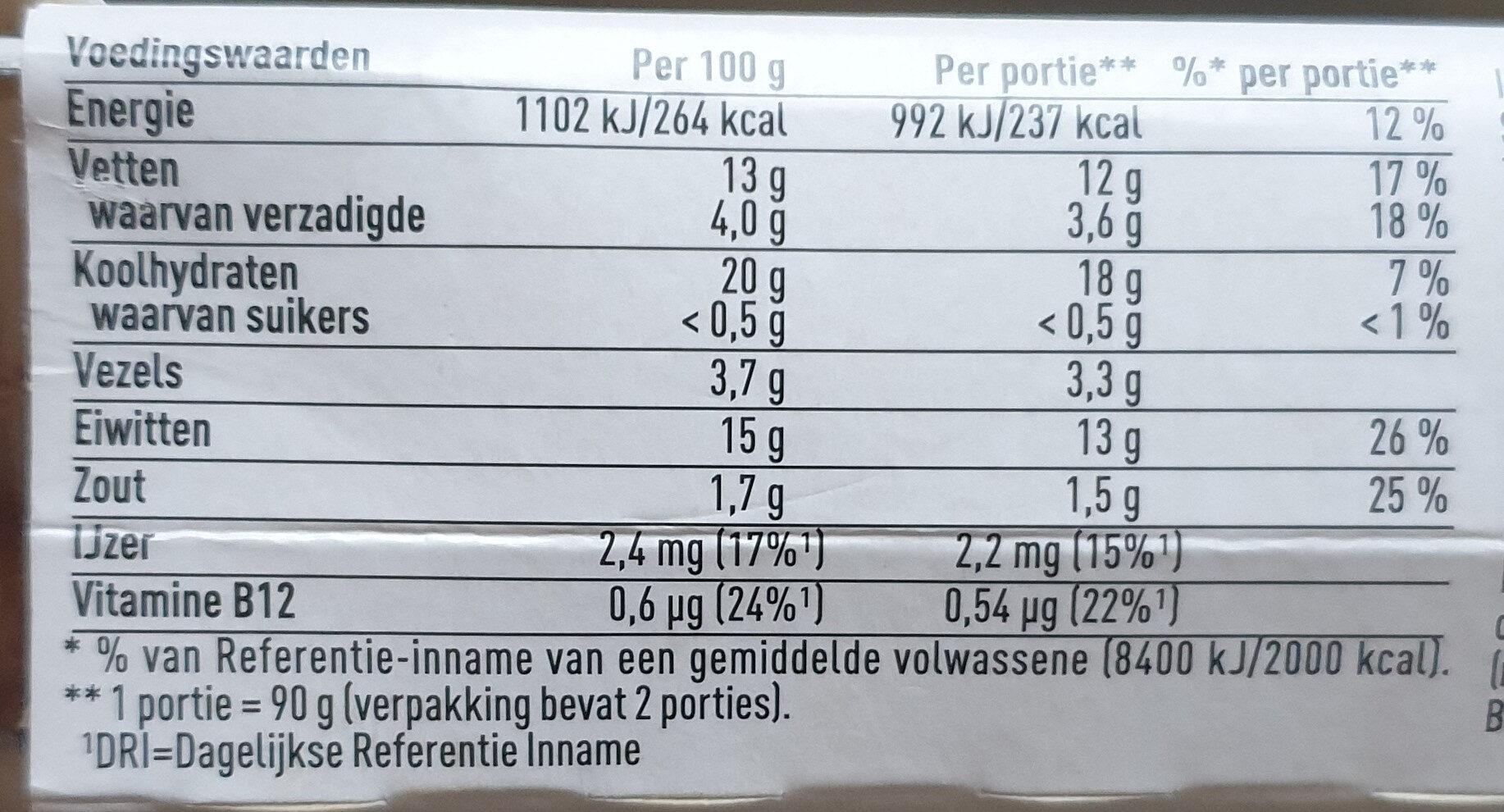 auf wieder schnitzel - Nutrition facts - nl
