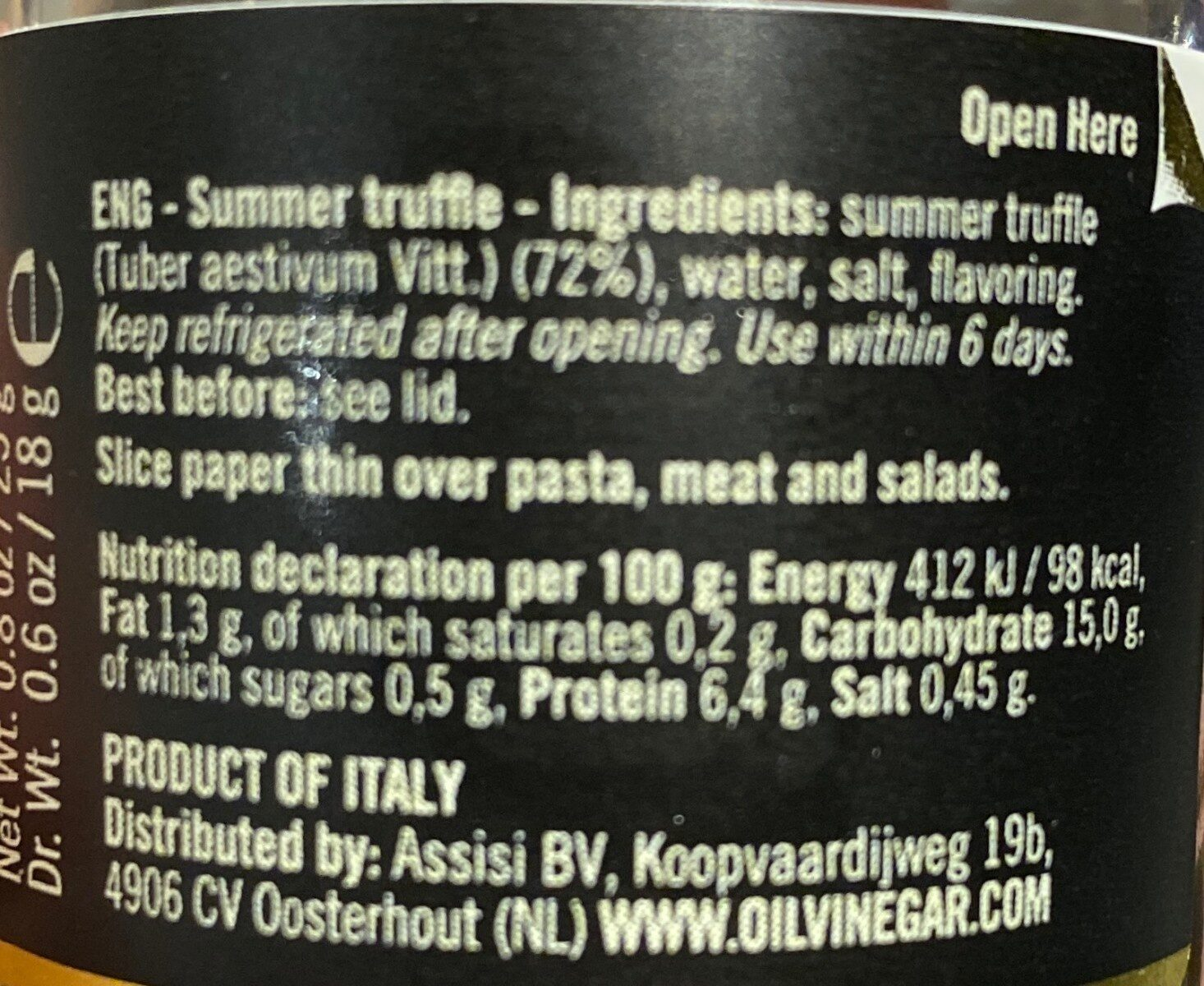 Italian summer truffle - Nutrition facts - fr