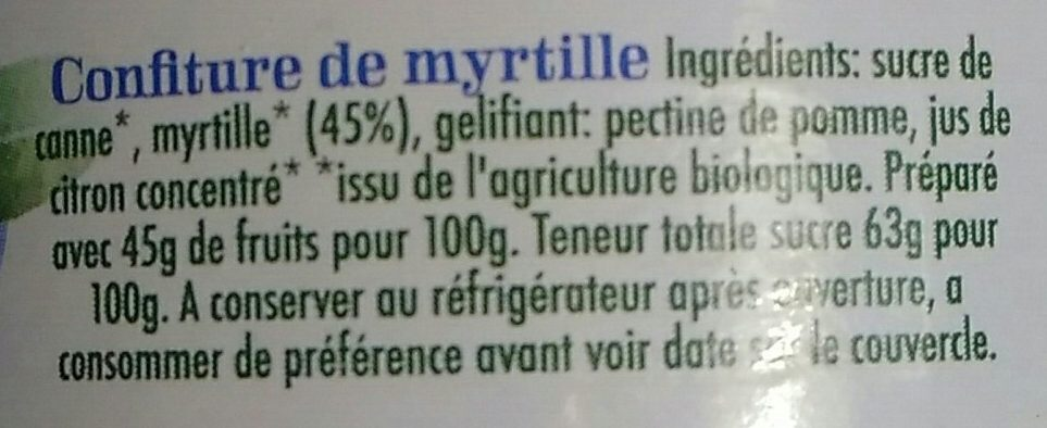Confiture de myrtilles - Ingredients - fr