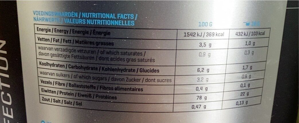 Whey Perfection Vanilla Flavour - Informations nutritionnelles - fr