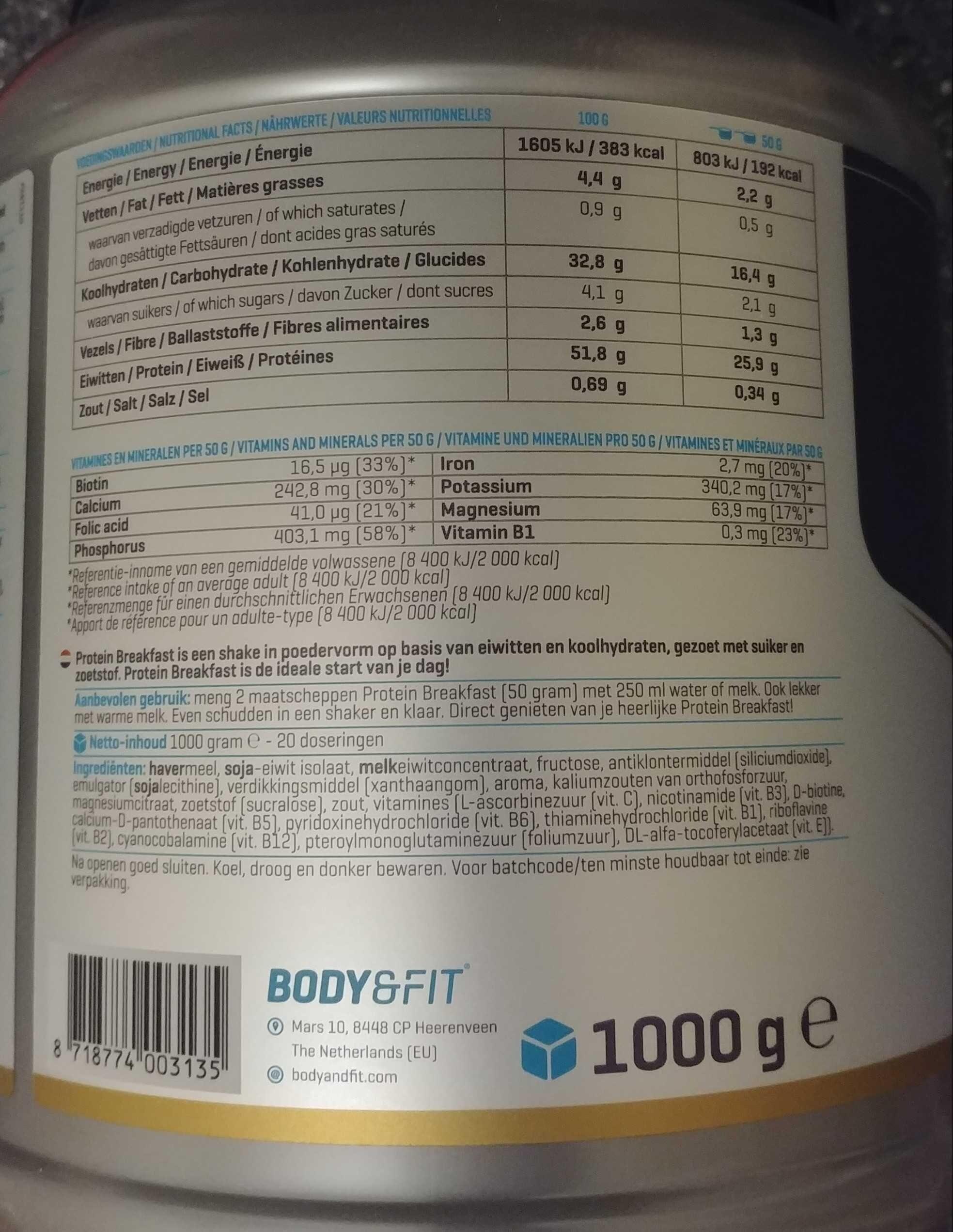 Protein breakfast - Ingredients