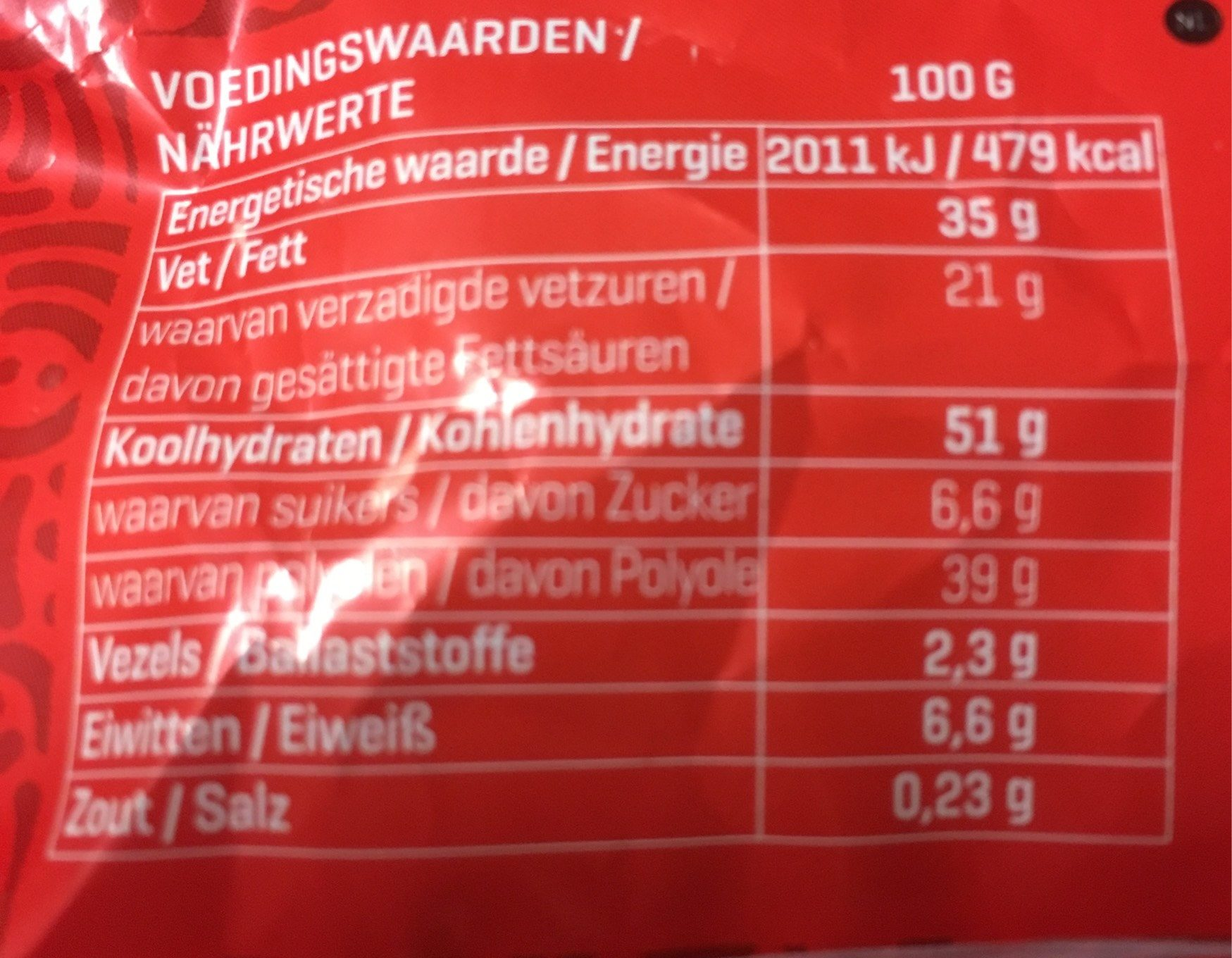 Chocolate Moment - Nutrition facts - fr