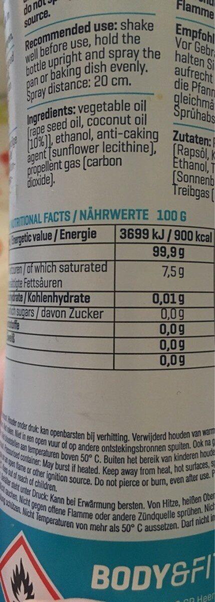 Smart Cooking Spray, Kokosöl - Nährwertangaben - en