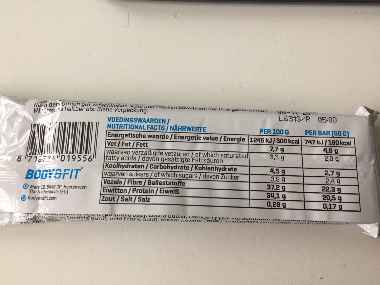 Clean Protein bar - Voedigswaarden