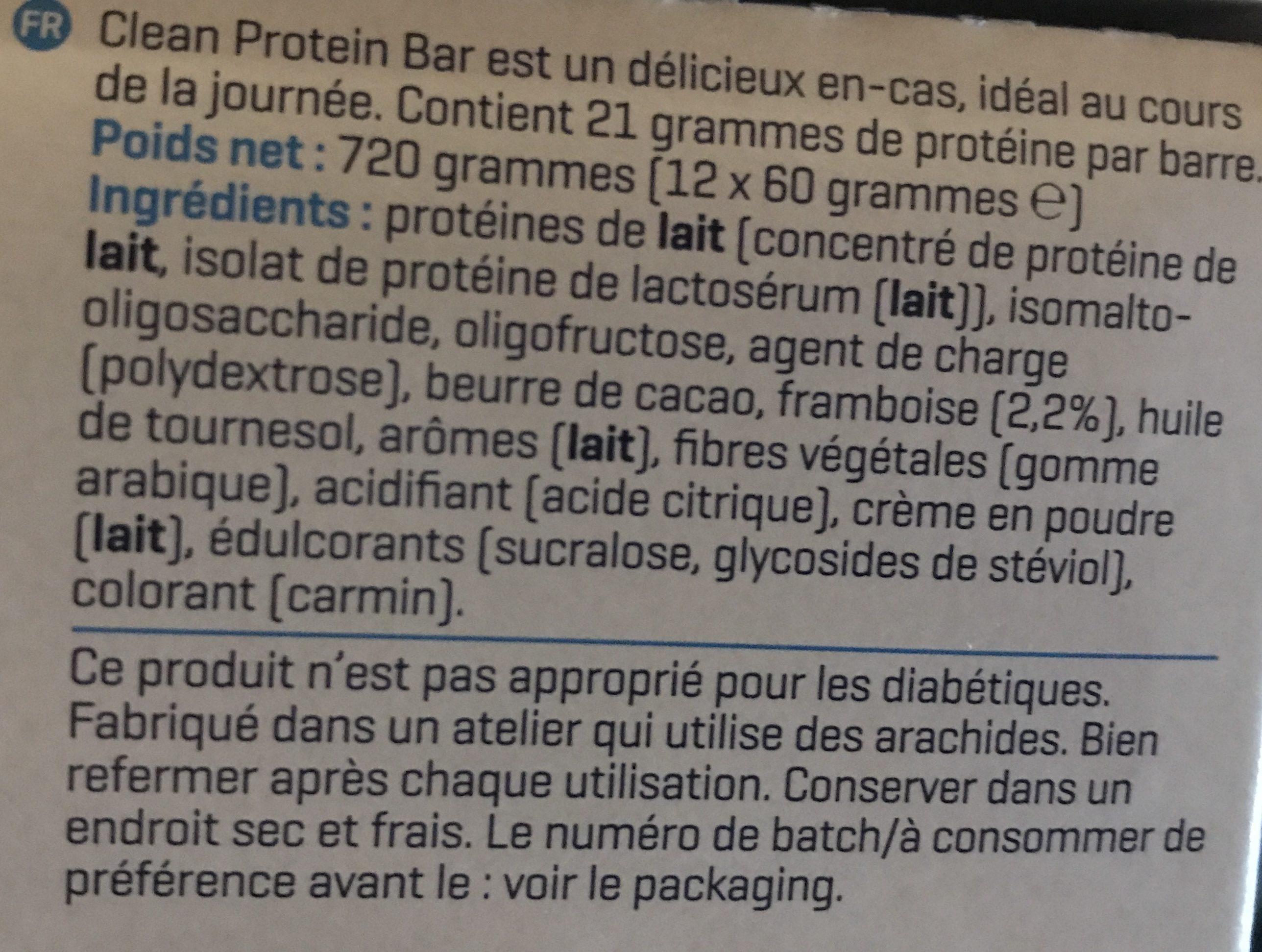 Clean protein bar - Ingrédients - fr