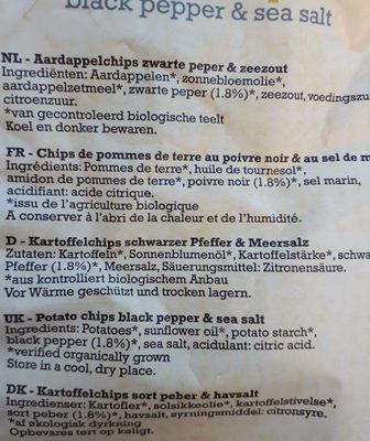 Hand Cooked Potato Chips Black pepper & Sea salt - Ingredients