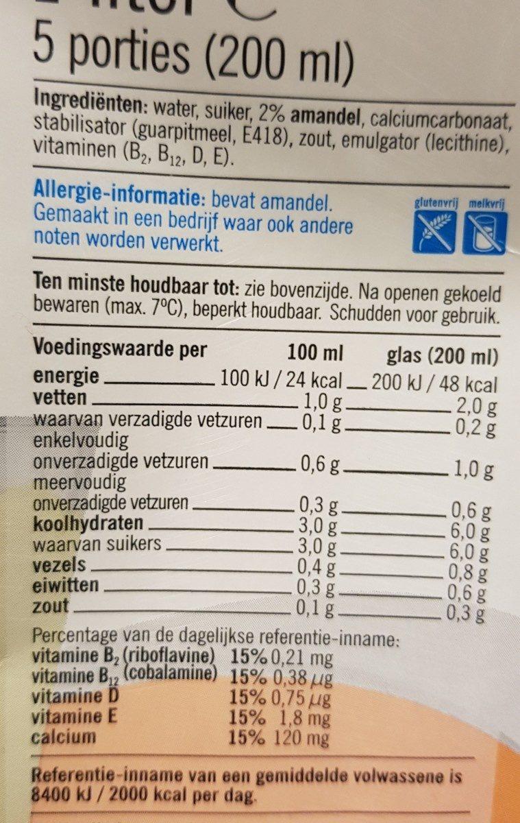 Lait amande - Ingredients - fr