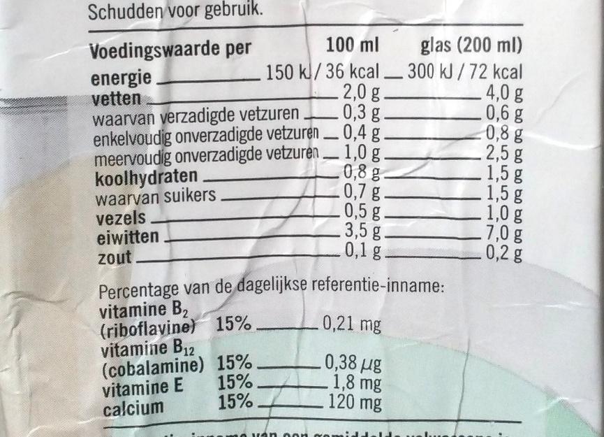 AH Soja drink ongezoet - Nutrition facts - en