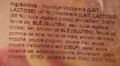 Bâtonnets de Mozzarella - Ingredienti - fr