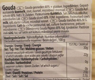 Gouda cheese - Voedingswaarden - fr