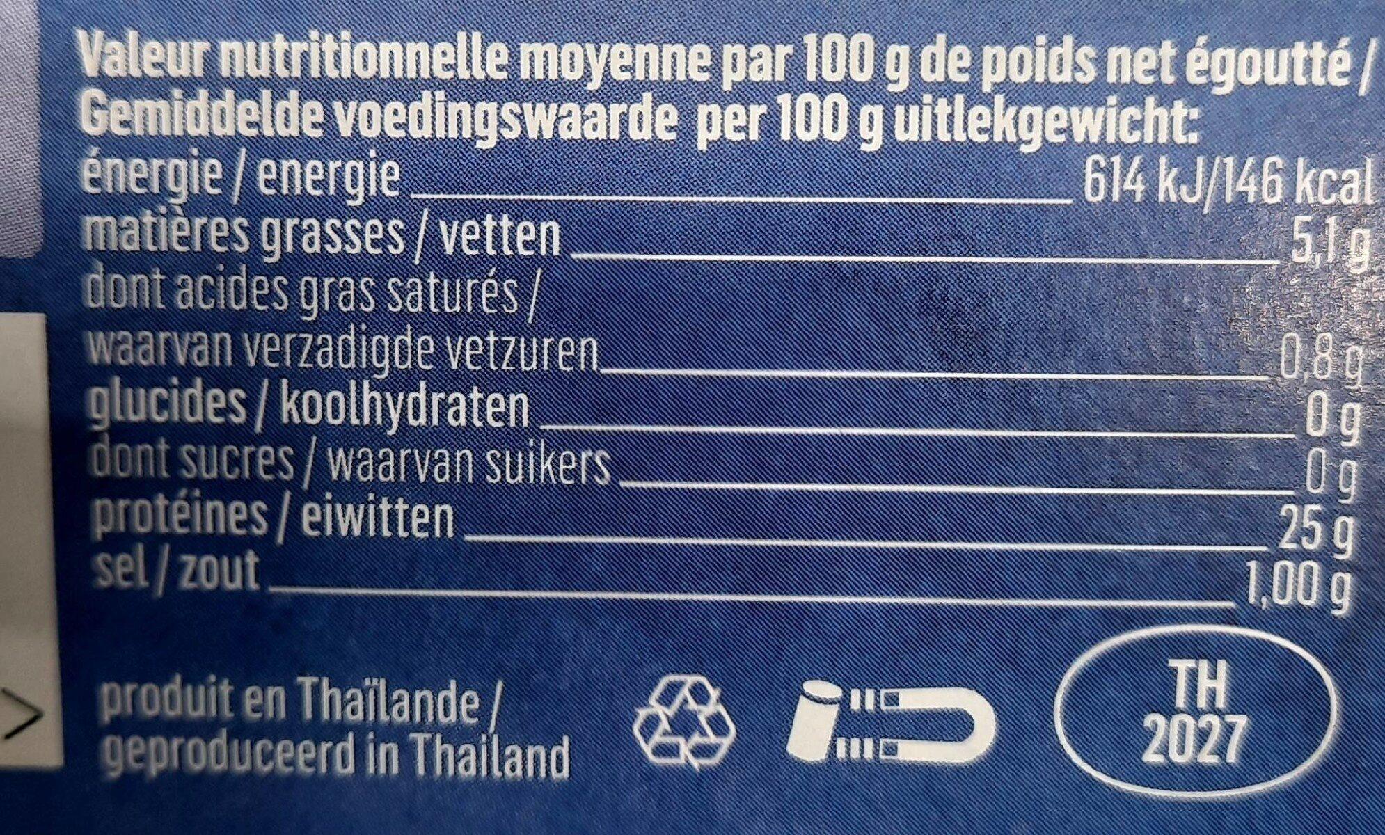 Thon huile d'olive - Informations nutritionnelles - fr