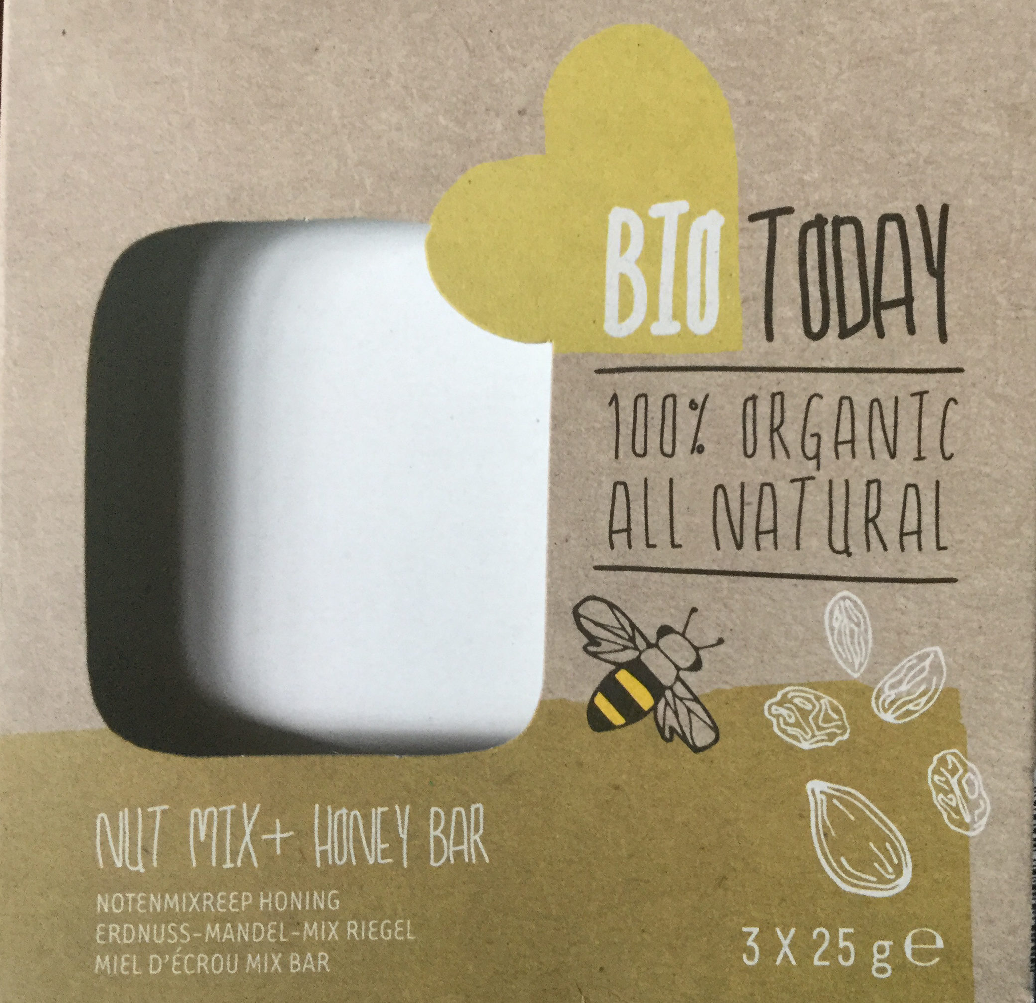Bio Today Nut Mix + Honey Bar (notenmixreep Honing) - Product - en