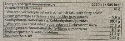 Bio Today Nut Mix + Honey Bar (notenmixreep Honing) - Voedingswaarden - en