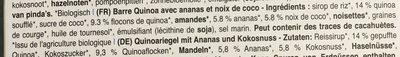Quinoariegel, Ananas-kokos - Ingrédients - fr